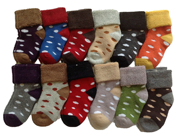 Lian LifeStyle 5 Pairs Children Viscose Dotted Crew Socks Random Color
