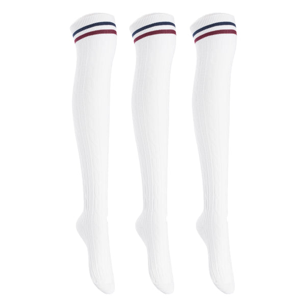 Lian LifeStyle Big Girl's Women's 3 Pairs Adorable Comfortable Soft Thigh High Over Knee High Cotton Socks Size 6-9 L1022(White)