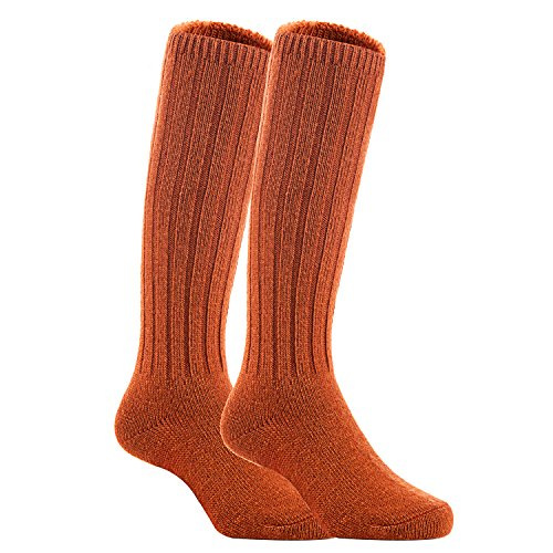 Meso Unisex Children 2 Pairs Knee High Wool Boot Socks MFS02 Size 0-2Y(Brown)