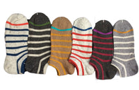 Lian LifeStyle Women's 6 Pairs Pack Low Cut Cotton Socks Striped Size 7-9