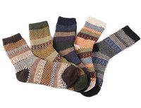 Lian LifeStyle Women's 5 Pairs Pack Wool Socks Classic Square Size 7-9