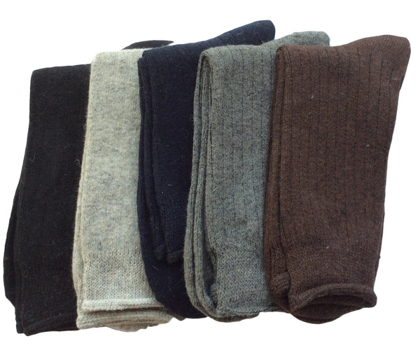 Meso Men's 5 Pairs Pack Rabbit Hair Wool Crew Socks Solid Size 7-11
