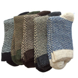 Meso Men's 5 Pairs Pack Rabit Hair Synthetic Wool Crew Socks Stripped Size 7-11