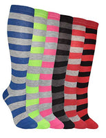 Women's 6 Pairs Truly Beautiful Cable-Knit Over The Knee Socks Various Patterns LSR One Size