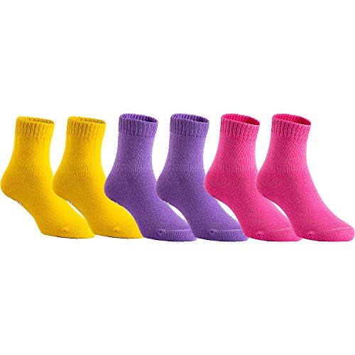 Lovely Annie Children's 6 Pairs Superior Quality Cotton Socks - Fascinating and Refined Crew Socks - Perfect for Sports Size 1Y-3Y Girl Color