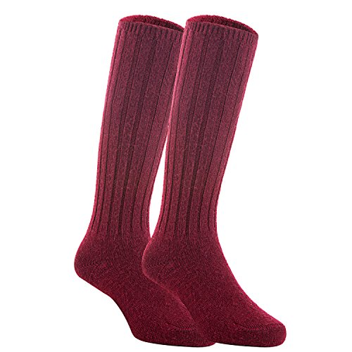 Meso Unisex Children 2 Pairs Knee High Wool Boot Socks MFS02 Size 2-4Y(Wine)