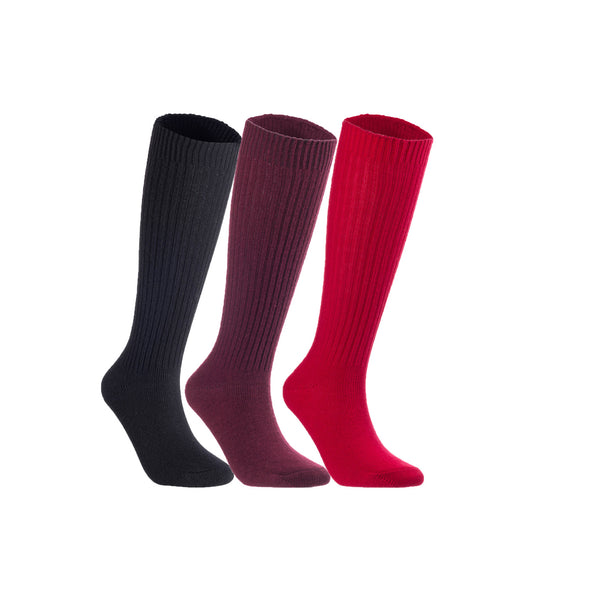 Lian LifeStyle Women's 3 Pairs Exceptional Non slip, Cozy and Cool Knee High Wool Socks LFS05 Size 6-9 (Black, Wine, Red)