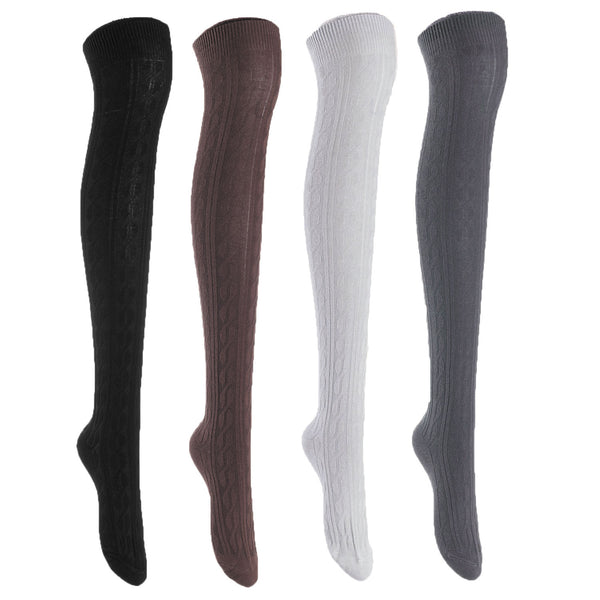 Women's 4 Pairs Super Durable, Awesome, Comfortable, Soft Thigh High Cotton Boot Socks MJ1024 Size 6-9(Black,Coffee,Grey, Dark Grey)