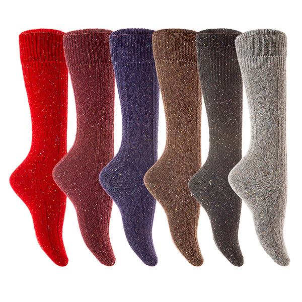 6 Pairs Women Girls Dots Wool Knee High Turn Up Rib Colorful Winter Socks