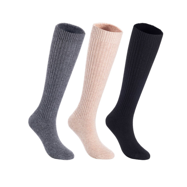 Lian LifeStyle Women's 3 Pairs Exceptional Non slip, Cozy and Cool Knee High Wool Socks LFS05 Size 6-9 (Black, Khaki, Grey)