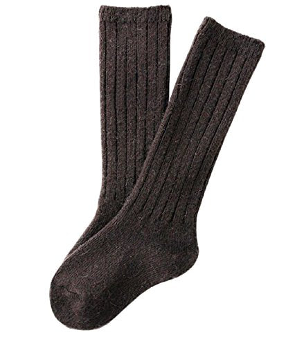 Meso Unisex Children 2 Pairs Knee High Wool Boot Socks MFS02 Size 4-6Y(Dark Brown)