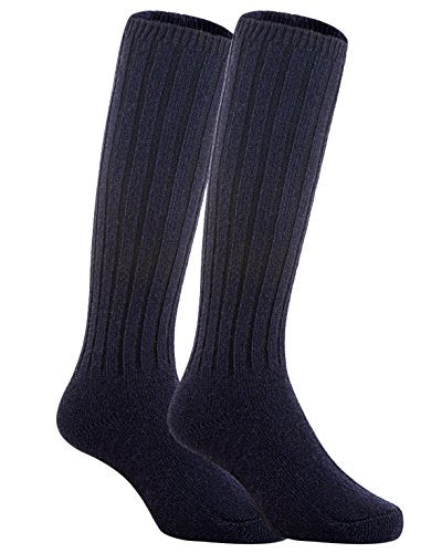 Meso Unisex Children 2 Pairs Knee High Wool Boot Socks MFS02 Size 0-2Y( Navy)