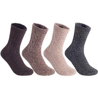 Women's&Big Girl's 4 Pairs Pack Fashion Soft Wool Crew Socks Size 5-9 MHR1613-4P4C-4(Coffee, Brown, Tan, Grey)