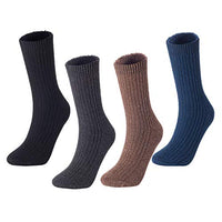 Men's 4 Pairs Knitted Wool Crew Socks FS03 Medium