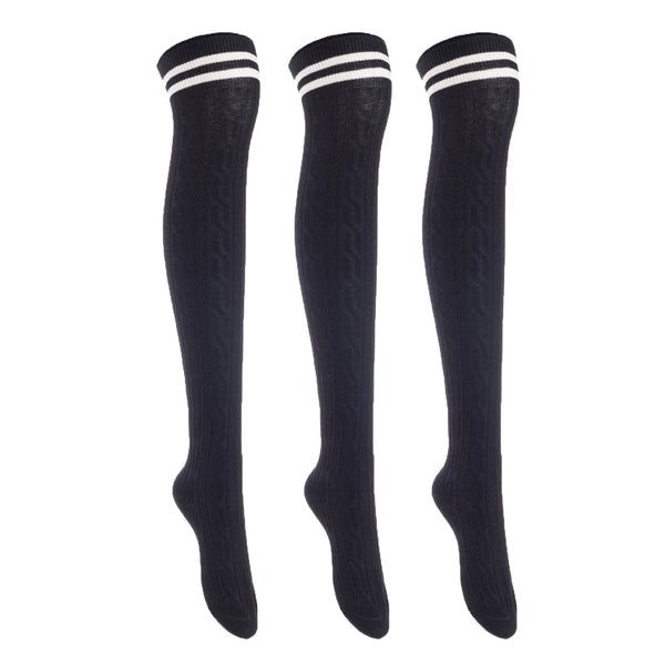 Lian LifeStyle Big Girl's Women's 3 Pairs Adorable Comfortable Soft Thigh High Over Knee High Cotton Socks Size 6-9 L1022(Black)