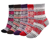 Meso Girl's 5 Pairs Pack Fashion Plaid-Maple Leaf Wool Socks One Size 7-9