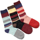 Meso Women's Girls' 3 Pairs High Crew Colorful Wool Socks Dots Striped(3 Color)