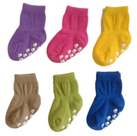 Meso Unisex Children 6 Pairs Pack Non Slip Pure Cotton Socks Multi Color