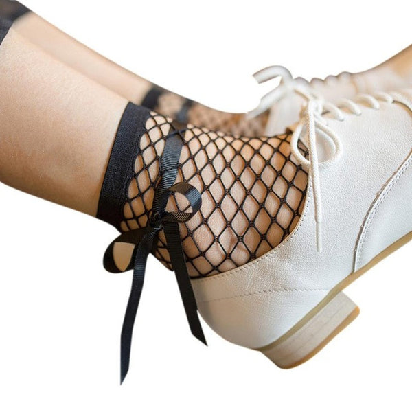 Fashion Harajuku Solid Black Breathable Fishnet Socks 2017 Summer Women Ruffle Fishnet Ankle High Socks Mesh Lace Short Socks