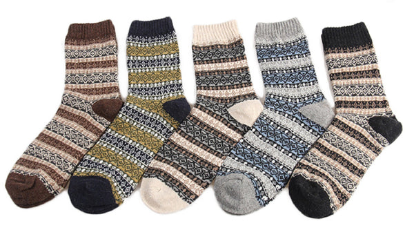 Meso Women's 5 Pair Pack Wool Soft Folk Design Fashion Socks Diamond