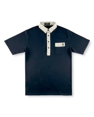 Navy Grog Hard Collar Golf Shirt