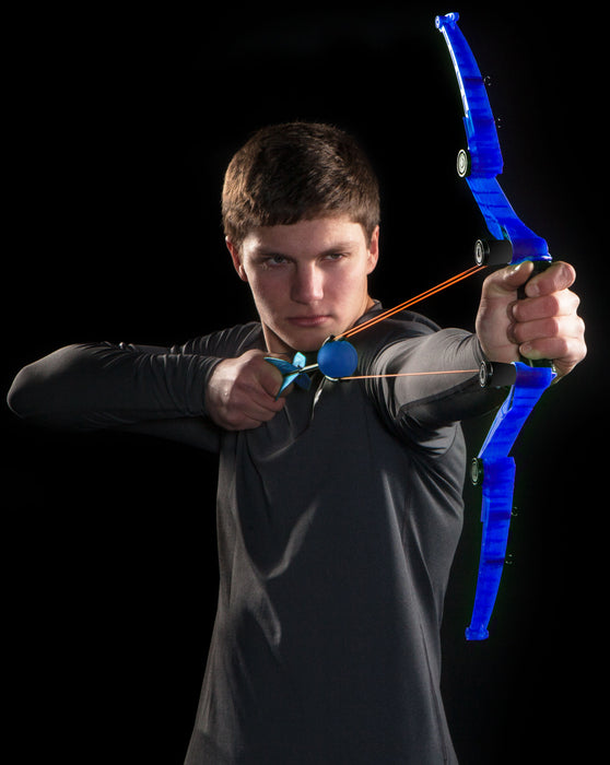 Boy using Blue AirStorm Z-Tek Bow