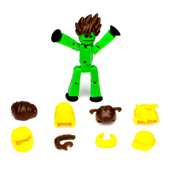Stikbot Action Pack : Green Bot with brown hair