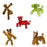 5 Pack Stikbots ( Stikbot Red Cow, Brown Panda,Green Gorilla, Stikbot Metallic Bronze, Stikbot translucent brown )