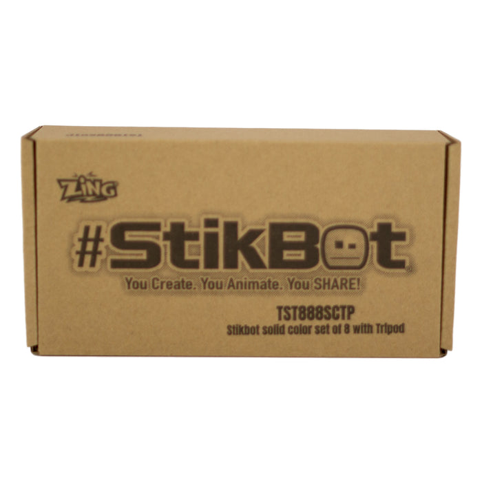 Stikbot Complete Set of 8  with Tripod - Solid Color :  Green Tree Eco Friendly Package (GEF)