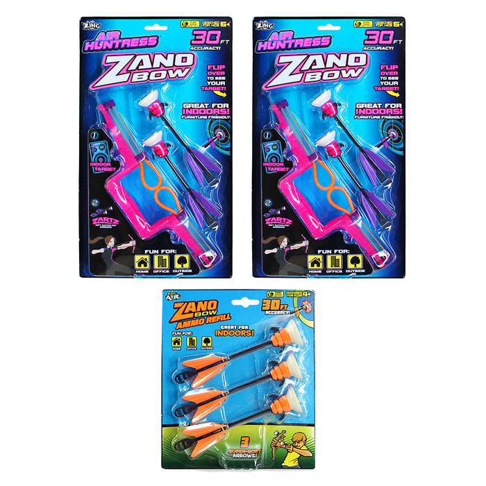 Zing Air Huntress Zano Bow 2 Pack with 1 Pack of Zano Arrow Refill