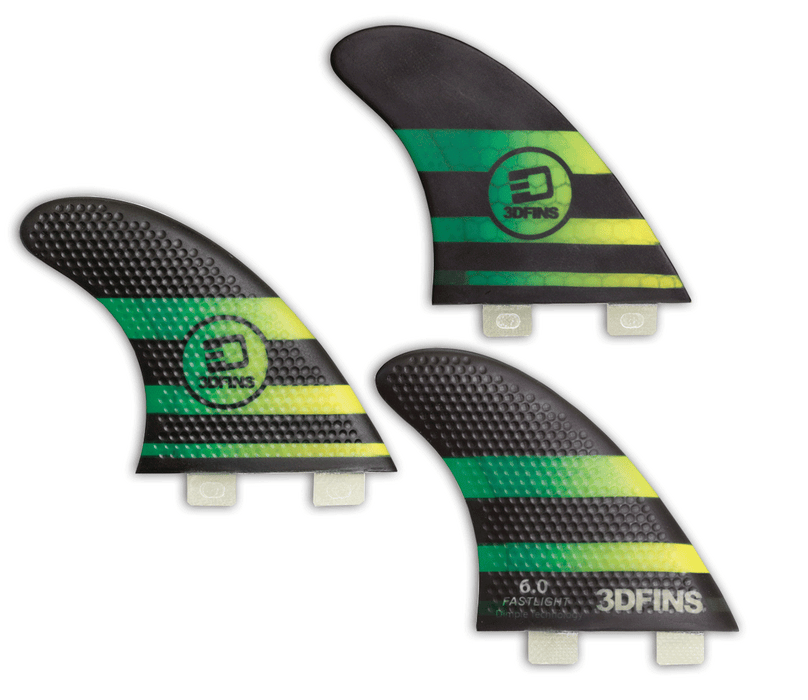Surfboard Fins - FASTLIGHT 6.0 (Med) Hexcore Thruster (FCS Base Compatible)