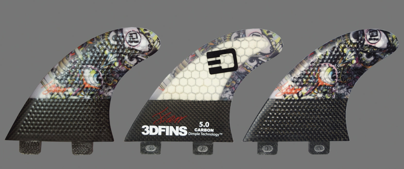 "Surfboard Fins - Josh Kerr ""Darkside"" Carbon Base 5.0 (Med.) Thruster (Twin Tab)"