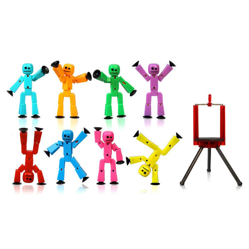 Toy Figures - Stikbot Complete Set Of 8  With Tripod - Solid Color :   Green Tree Eco Friendly Package (GEF)