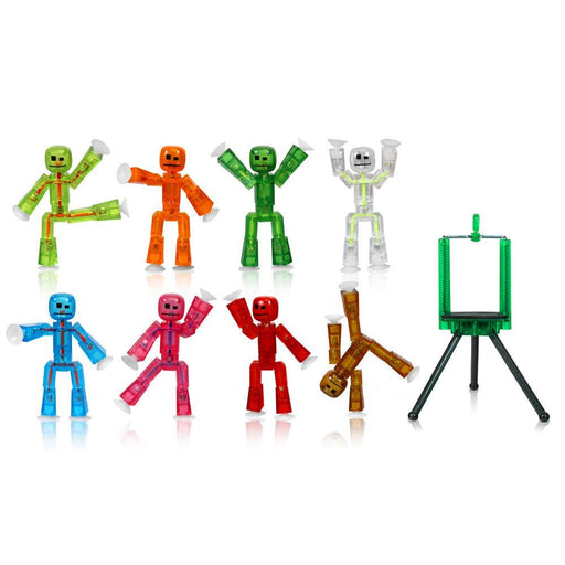 Toy Figures - Stikbot Complete Set Of 8  With Tripod - Translucent : Green Tree Eco Friendly Package (GEF)