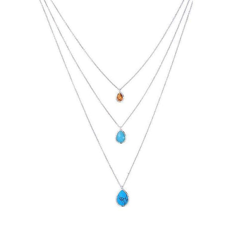 3 Rows Convertible Multi-layered Necklace with water drop blue marble stone | Necklaces | Fashion Jewellery Amare Tutto
