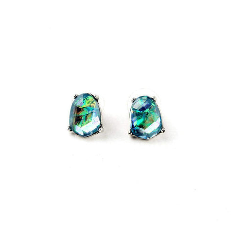Antique Silver Irregular Vintage Sea Blue Crystal Stud Earrings-Earrings-Earrings-Amare Tutto Jewellery