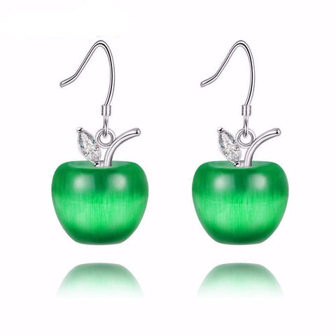 Apple Statement Dangle Earrings with Crystal Stones in Silver-Earrings-Amare Tutto Jewellery