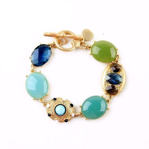 Beautiful Vintage Gold Toggle Bracelet in Blue and Green-Bracelets & Bangles-Bracelet-Amare Tutto Jewellery