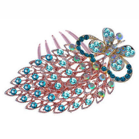 Blue or White High Quality Butterfly Crystal Hair Comb Accessories Hairpin-Hair Accessories-Amare Tutto Jewellery
