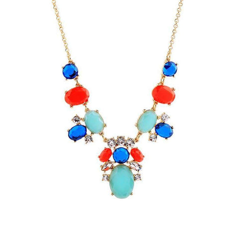 Coloured Gem Collar Necklace in Gold | Necklaces | Fashion Jewellery Amare Tutto