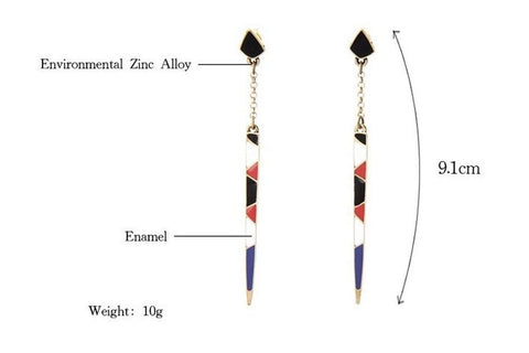Colourful Simple Long Drop Earrings With Black White Blue Red