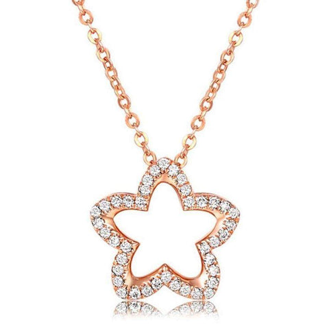 Cute Star Pendant Necklaces in 925 Sterling Silver Rose Gold or Platinum Plated | Necklaces | Fashion Jewellery Amare Tutto