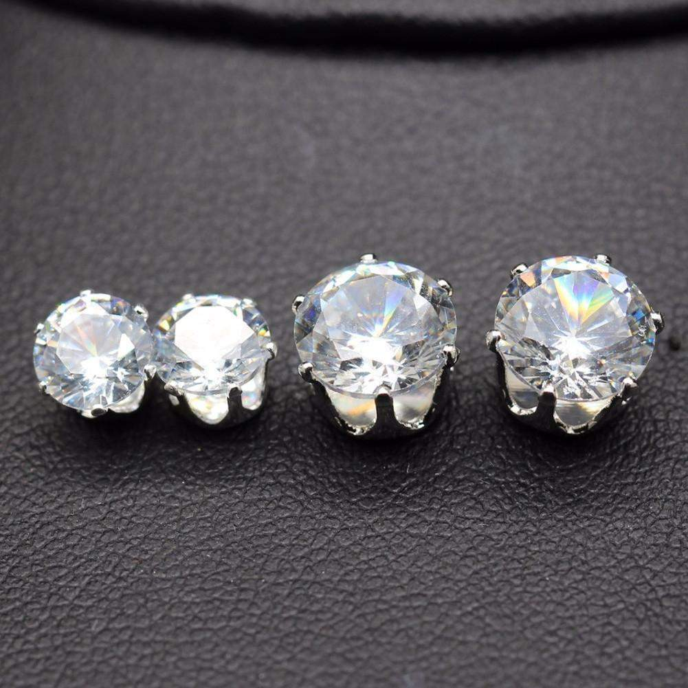 steel ab earrings stud crystal stainless white products ball