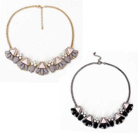 Gold or Silver Tone Morningtide Style Pink Statement Necklace in Black or Grey-Necklaces-Amare Tutto Jewellery