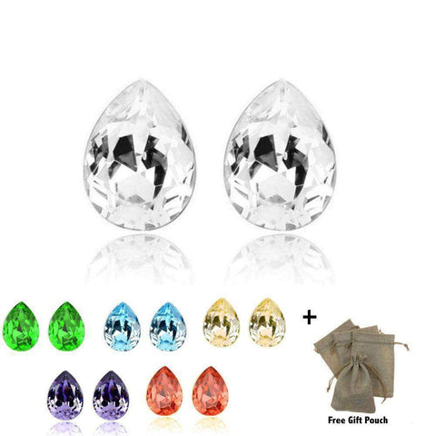 Gold Plated Austrian Crystal Large Tear Water Drop Stud Earrings - Many Colours-Earrings-Amare Tutto Jewellery