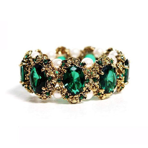 Gold Plated Vintage Emerald Green or Royal Blue Bracelet Bangle with Crystals-Bracelets & Bangles-Amare Tutto Jewellery