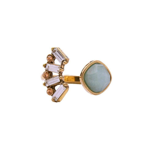 Gold Tone Crystal Adjustable Ring with Crystals-Rings-Amare Tutto Jewellery
