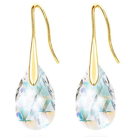 Gold Tone Sweet Tear Drop Earrings with Austrian Crystal in White or Red-Earrings-Amare Tutto Jewellery