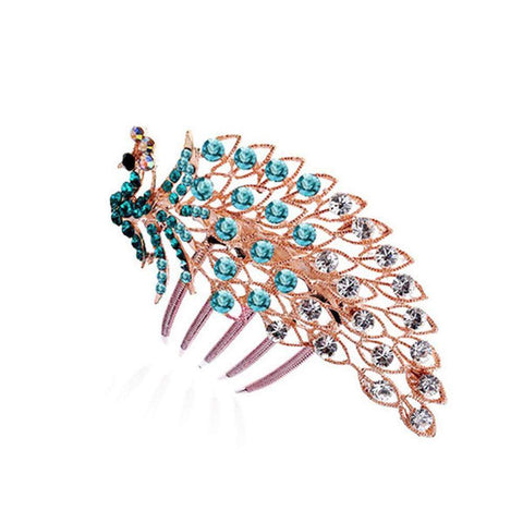 Green or Blue Peacock Rose Gold Plated Austrian Crystal Hair Comb Accessories Headdress Hairpins-Hair Accessories-Amare Tutto Jewellery
