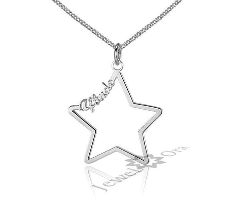 Hollow Star Personalised 925 Sterling Silver Name Necklace in Gold, Rose Gold or Silver Personalized Custom | Necklaces | Fashion Jewellery Amare Tutto
